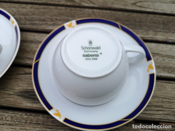 Antigüedades: SABENA Líneas Aéreas Belgas, lote de tres platos y tazas de café de porcelana de servicio a bordo - Foto 3 - 222593993