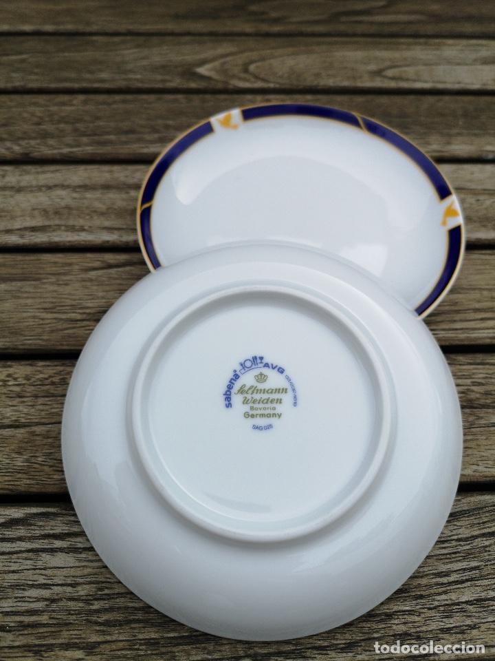Antigüedades: SABENA Líneas Aéreas Belgas, lote de dos platos de café de porcelana de servicio a bordo - Foto 2 - 222594218