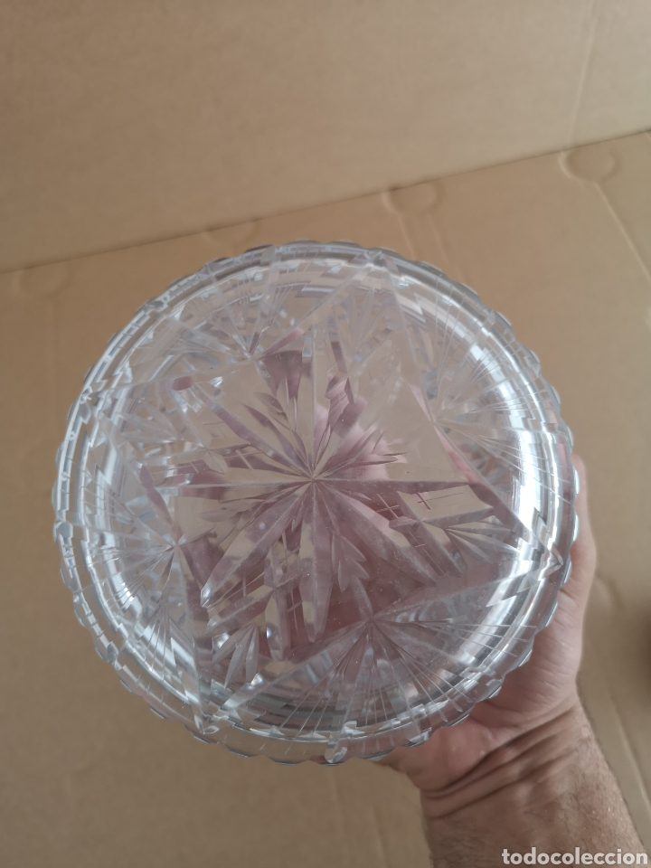 Antigüedades: Precioso y antiguo tarro de cristal tallado de bohemia - Foto 4 - 222603010