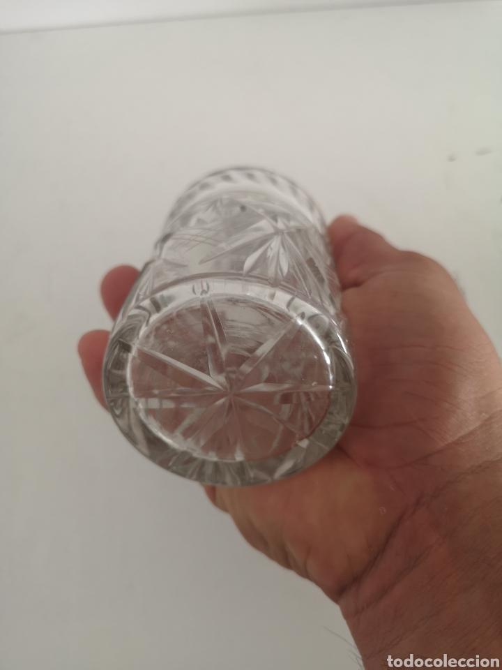 Antigüedades: Precioso y antiguo tarro bote algodonero de cristal de bohemia tallado - Foto 3 - 222619142