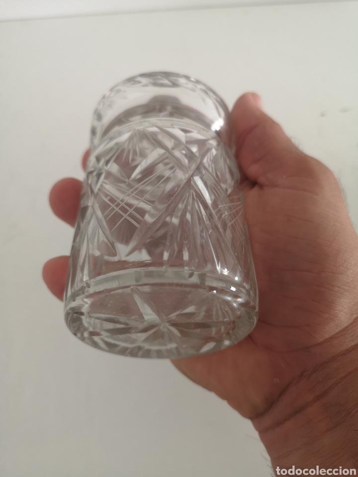 Antigüedades: Precioso y antiguo tarro bote algodonero de cristal de bohemia tallado - Foto 4 - 222619142