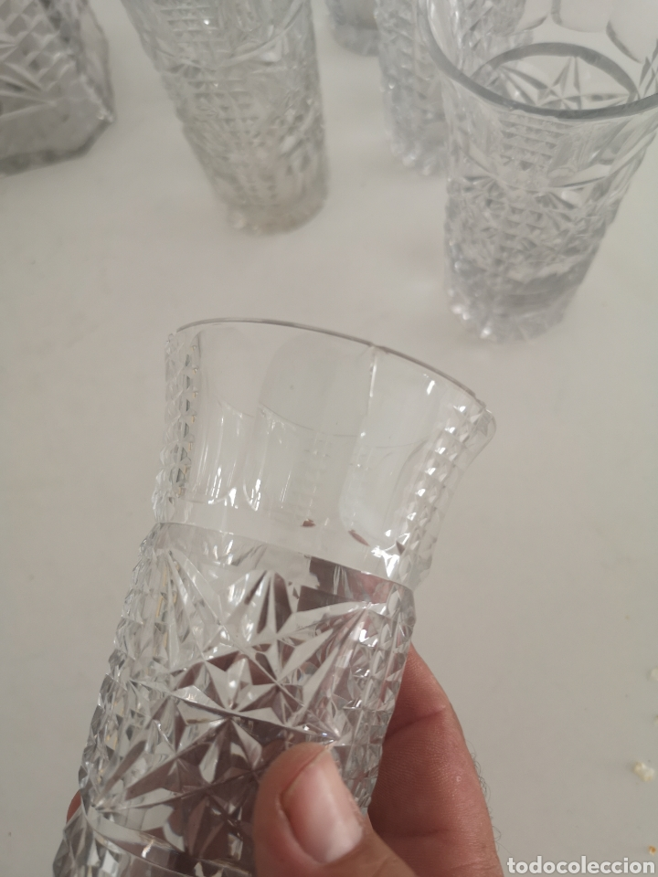 Antigüedades: Precioso juego de licorers y vasos en cristal de bohemia tallada y plata - Foto 5 - 222619222