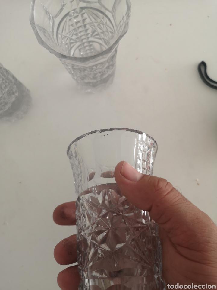 Antigüedades: Precioso juego de licorers y vasos en cristal de bohemia tallada y plata - Foto 6 - 222619222