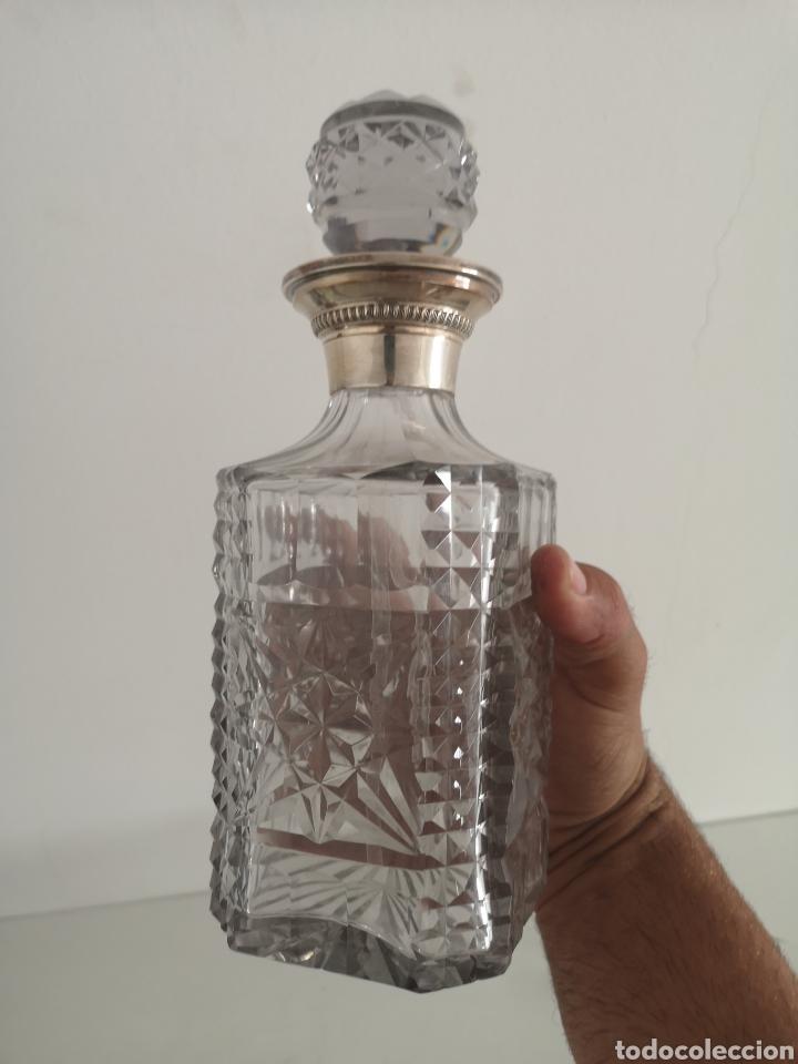 Antigüedades: Precioso juego de licorers y vasos en cristal de bohemia tallada y plata - Foto 9 - 222619222