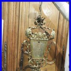 Antigüedades: FAROL DE FORJA DORADA CON CRISTALES. Lote 222620846