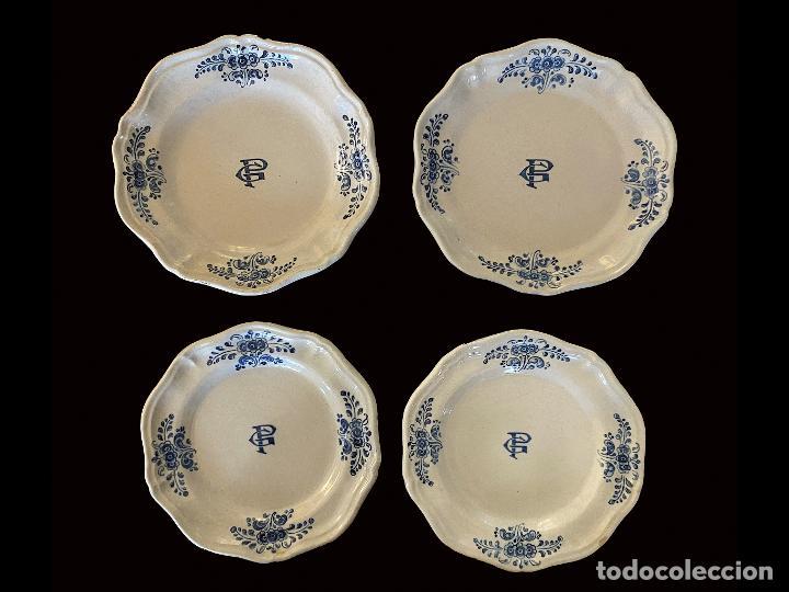 ANTIGUOS PLATOS DE TALAVERA, INICIALES G. P., IMPECABLES, (Antigüedades - Porcelanas y Cerámicas - Talavera)