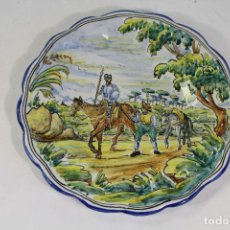 Antigüedades: PLATO DE TALAVERA - EL ALFAR - CON DON QUIJOTE Y SANCHO PANZA. Lote 222625176
