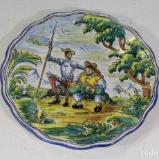 Antigüedades: PLATO DE TALAVERA - EL ALFAR - CON DON QUIJOTE Y SANCHO PANZA. Lote 222625205