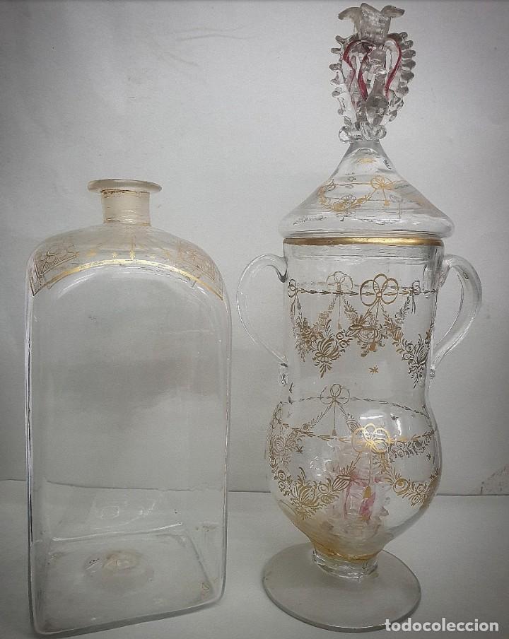 CÁNDIL Y BOTELLA CRISTAL DE LA GRANJA SIGLOS XVIII-XIX (Antigüedades - Cristal y Vidrio - La Granja)
