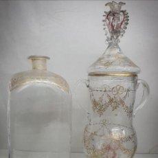 Antigüedades: CÁNDIL Y BOTELLA CRISTAL DE LA GRANJA SIGLOS XVIII-XIX. Lote 222626583