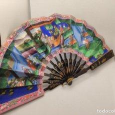 Antigüedades: ABANICO CHINO TIPO MIL CARAS PINTADO A MANO ( CARAS MARFIL Y ROPA SEDA ). Lote 222633221