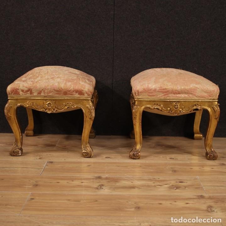 Antigüedades: Par de reposapiés italianos dorados - Foto 2 - 222638330