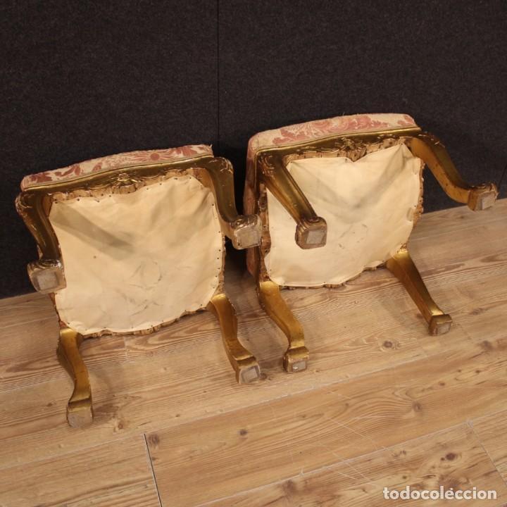 Antigüedades: Par de reposapiés italianos dorados - Foto 6 - 222638330