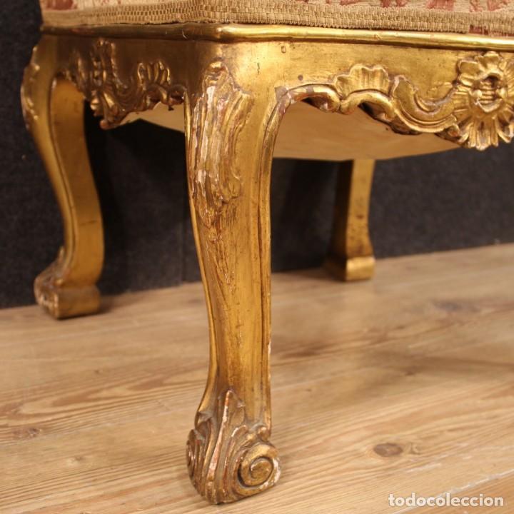 Antigüedades: Par de reposapiés italianos dorados - Foto 9 - 222638330