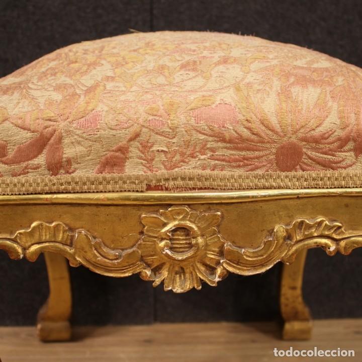 Antigüedades: Par de reposapiés italianos dorados - Foto 10 - 222638330