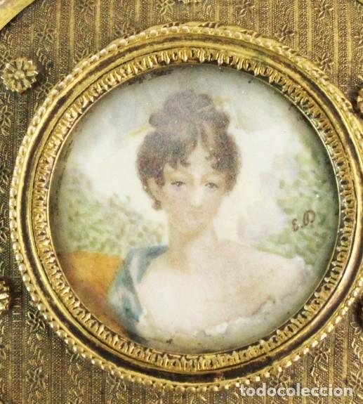 Antigüedades: Joyero en bronce con miniatura pintada y firmada ca 1890 - A brass jewel box with miniature painting - Foto 3 - 222643708