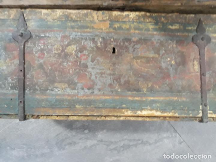 Antigüedades: magnifica arqueta gotica española,siglo xvi,hierros y madera de haya policromada - Foto 5 - 222648300