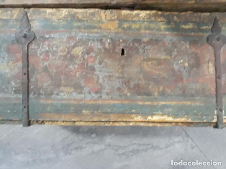 Antigüedades: magnifica arqueta gotica española,siglo xvi,hierros y madera de haya policromada - Foto 7 - 222648300