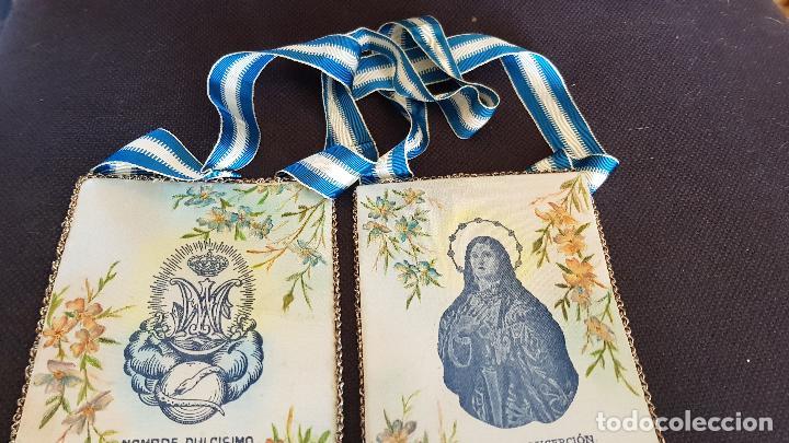 VILLARREAL PURISIMA CONCEPCION MIDE 15X11 CM (Antigüedades - Religiosas - Escapularios Antiguos)