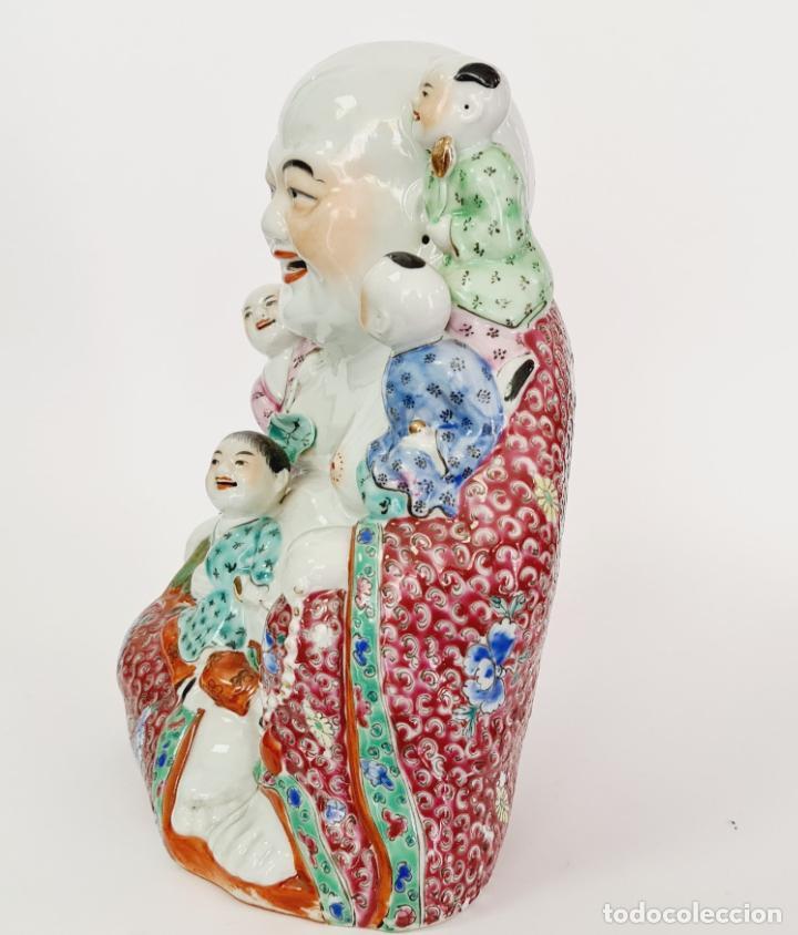 Antigüedades: buda porcelana chino china grande marcado - Foto 7 - 222679767