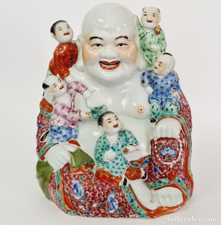 BUDA PORCELANA CHINO CHINA GRANDE MARCADO (Antigüedades - Porcelanas y Cerámicas - Otras)