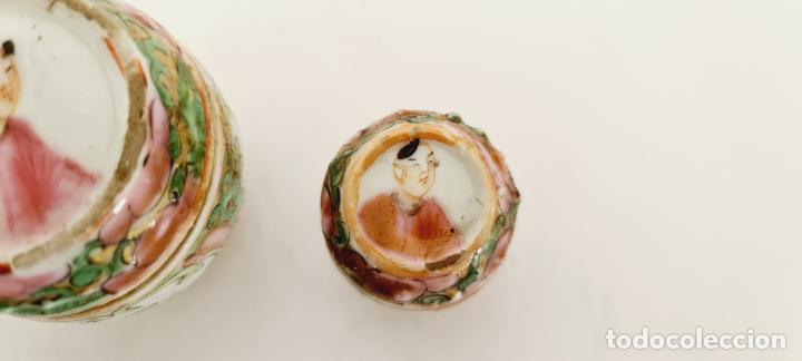 Antigüedades: cuatro frascos de porcelana de exportación china del siglo XIX - Foto 6 - 222685300