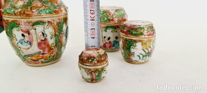 Antigüedades: cuatro frascos de porcelana de exportación china del siglo XIX - Foto 12 - 222685300