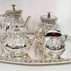 Antigüedades: SERVICIO DE TE Y CAFE EN PLATA LEY MARCADO CON CONTRASTE. Lote 222687408