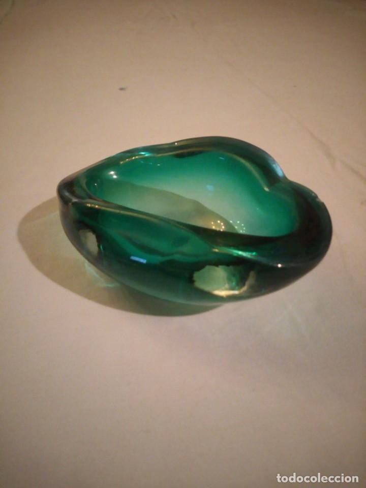 Antigüedades: Bonito cenicero o cuenco de cristal de murano color verde turquesa. - Foto 4 - 222731133
