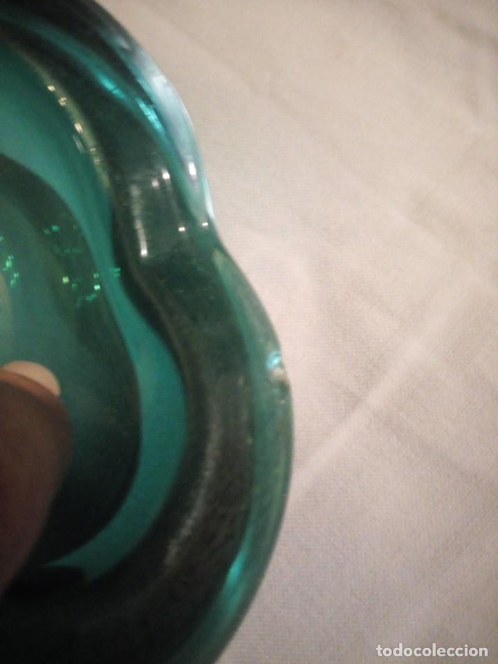 Antigüedades: Bonito cenicero o cuenco de cristal de murano color verde turquesa. - Foto 6 - 222731133