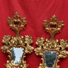 Antigüedades: PAREJA CORNUCOPIA DE MADERA Y PAN DE ORO. Lote 222731983
