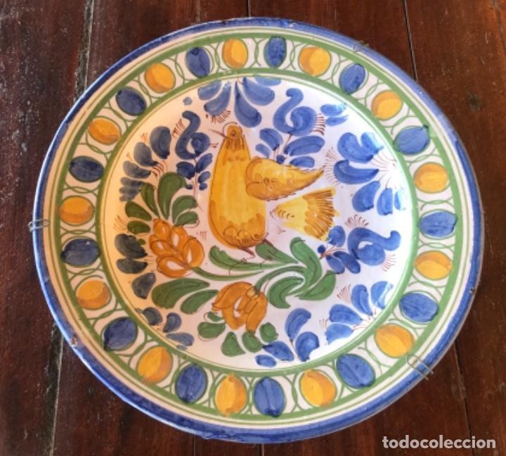 Antigüedades: Antiguo gran plato cerámica catalana 32,50cm diametro - Foto 3 - 222740078