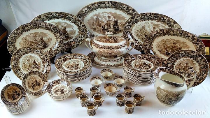 GRAN VAJILLA WEDGWOOD SERIE FERRARA ORIGINAL. 96 PIEZAS. LOZA ESMALTADA. INGLATERRA. SIGLO XIX (Antigüedades - Porcelanas y Cerámicas - Inglesa, Bristol y Otros)
