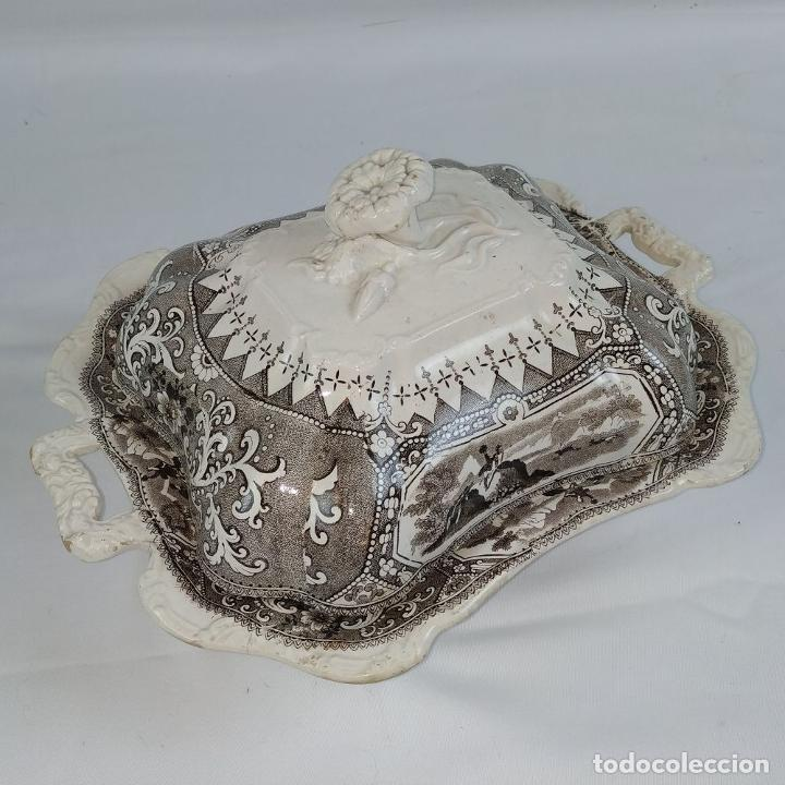 Antigüedades: BANDEJA CON TAPA. LOZA ESMALTADA. MARCA INCISA ADAMS. STAFFORDSHIRE(?). INGLATERRA. XIX - Foto 6 - 222776766