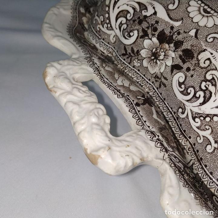 Antigüedades: BANDEJA CON TAPA. LOZA ESMALTADA. MARCA INCISA ADAMS. STAFFORDSHIRE(?). INGLATERRA. XIX - Foto 10 - 222776766