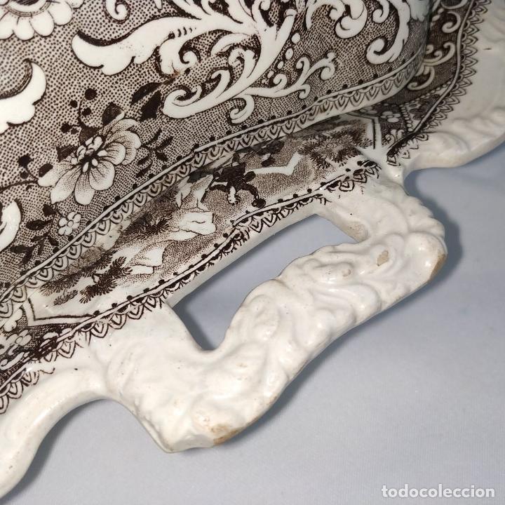 Antigüedades: BANDEJA CON TAPA. LOZA ESMALTADA. MARCA INCISA ADAMS. STAFFORDSHIRE(?). INGLATERRA. XIX - Foto 11 - 222776766