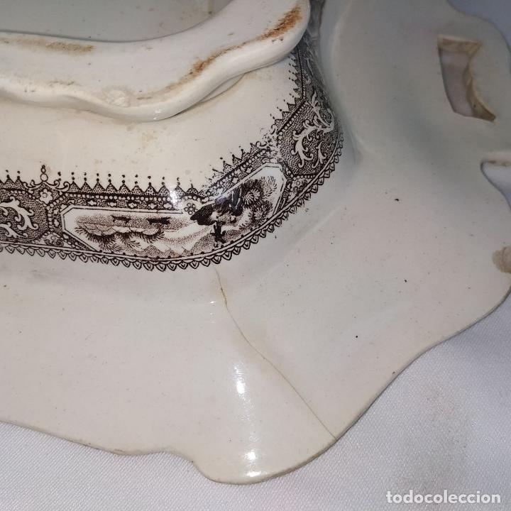 Antigüedades: BANDEJA CON TAPA. LOZA ESMALTADA. MARCA INCISA ADAMS. STAFFORDSHIRE(?). INGLATERRA. XIX - Foto 18 - 222776766