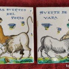 Antigüedades: TAUROMAQUIA. PAREJA DE AZULEJOS. TALAVERA (?). ESPAÑA. SIGLO XX. Lote 222797957