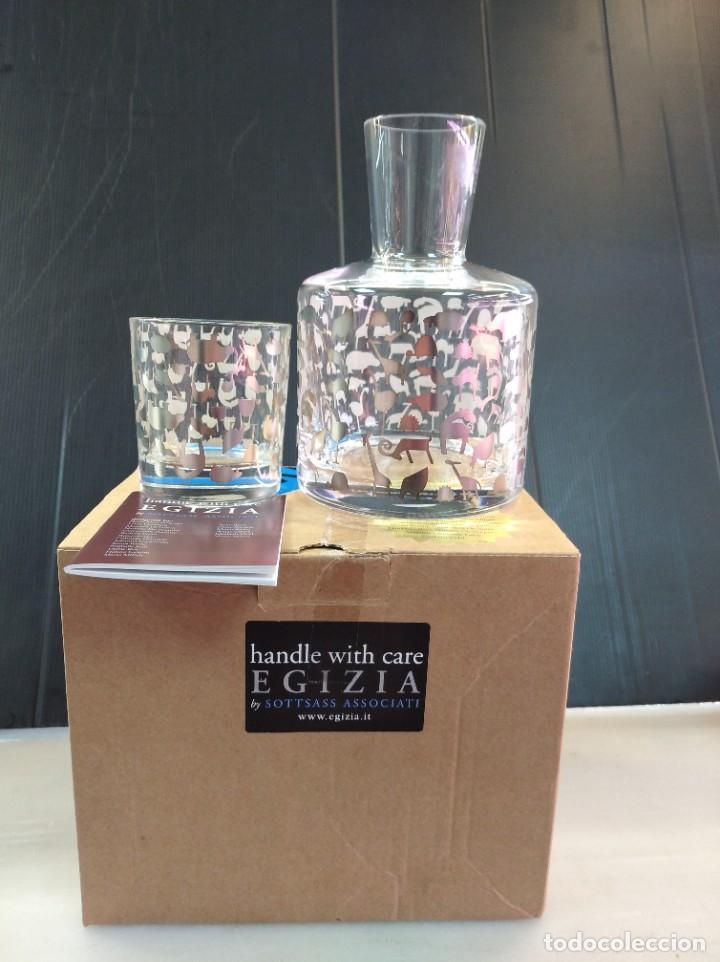 ESPECTACULARES CONJUNTO LICORERA Y VASO DE LA MARCA DE LUJO EGIZIA (Antigüedades - Cristal y Vidrio - Italiano)