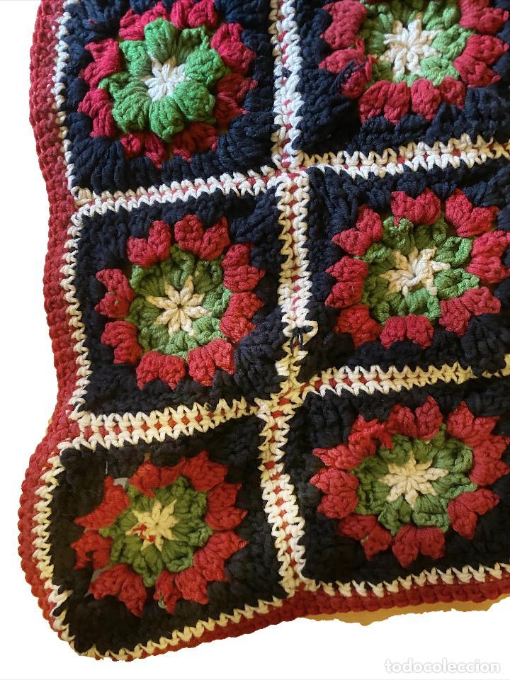 Antigüedades: Preciosa manta hecha a mano, sin estrenar, medidas : 1, 80 x 1 metro. - Foto 2 - 222812566