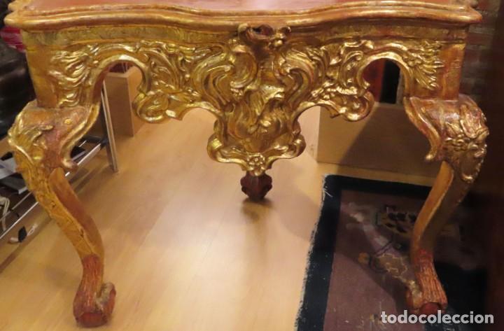 Antigüedades: Consola esquinera madera tallada y dorada España siglo XVIII - Foto 2 - 222817887