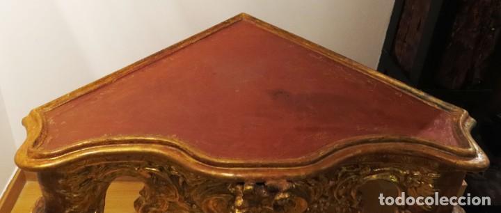 Antigüedades: Consola esquinera madera tallada y dorada España siglo XVIII - Foto 3 - 222817887
