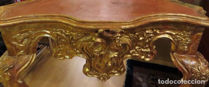 Antigüedades: Consola esquinera madera tallada y dorada España siglo XVIII - Foto 4 - 222817887