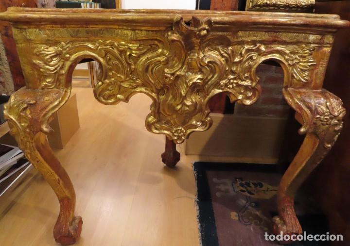 Antigüedades: Consola esquinera madera tallada y dorada España siglo XVIII - Foto 6 - 222817887