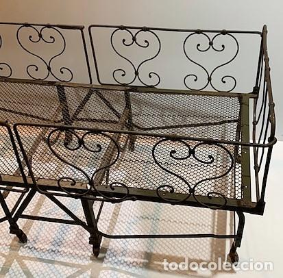Antigüedades: Cuna de hierro plegable. - Foto 3 - 222822348