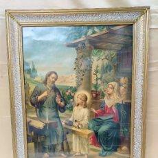 Antigüedades: PRECIOSA CROMOLITOGRAFÍA DE FINALES DE SIGLO XIX LA VIRGEN MARIA SAN JOSE , Y EL NIÑO JESÚS. Lote 222824962