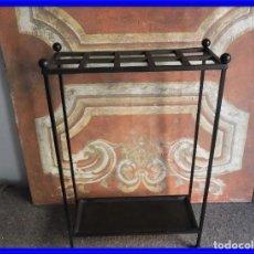 Antigüedades: PARAGUERO BASTONERO DE HIERRO LIGERO Y SENCILLO. Lote 222840475