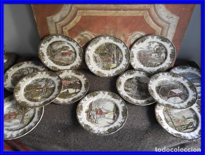 COLECCION DE PLATOS DE CERAMICA DE PAISAJES DE JOHNSON BROS (Antigüedades - Porcelanas y Cerámicas - Inglesa, Bristol y Otros)