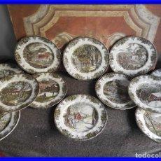 Antigüedades: COLECCION DE PLATOS DE CERAMICA DE PAISAJES DE JOHNSON BROS. Lote 222840582