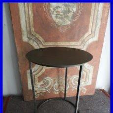 Antiquités: MESA AUXILIAR REDONDA TODA DE METAL NEGRO MUY BONITA. Lote 222855488